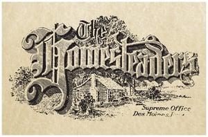 The Homesteaders original logo with log cabin