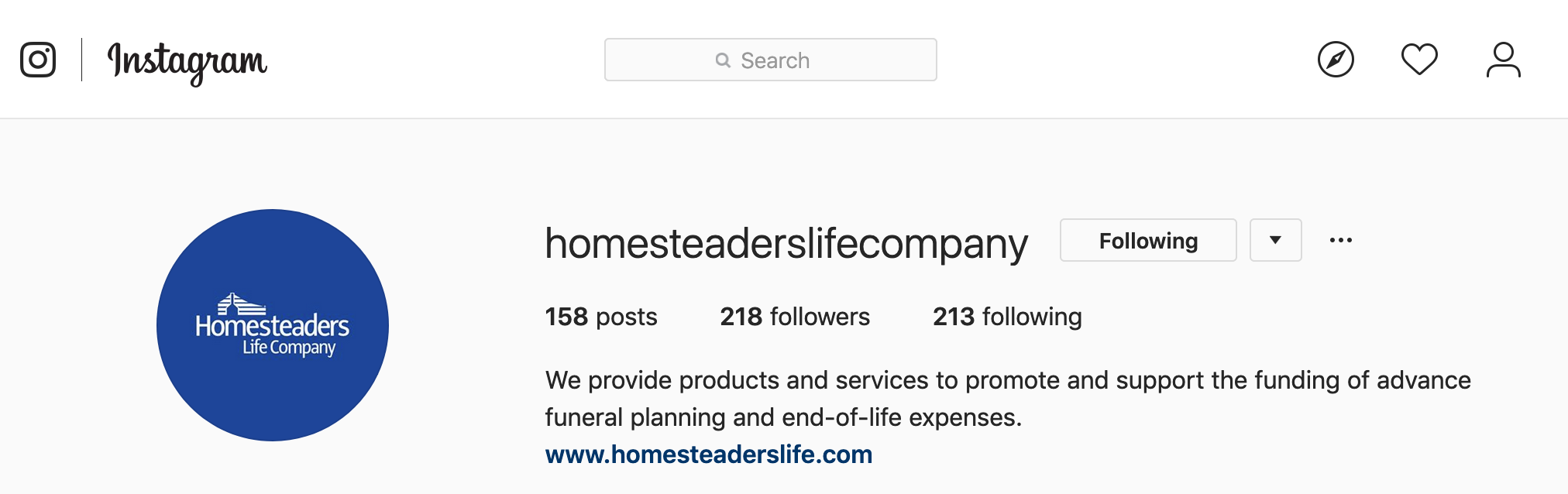 Homesteaders Instagram profile screen shot