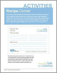 Family Recipe Activity